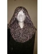 Hooded Neck Warmer Handmade/Black, Gray & Pink  - $45.00