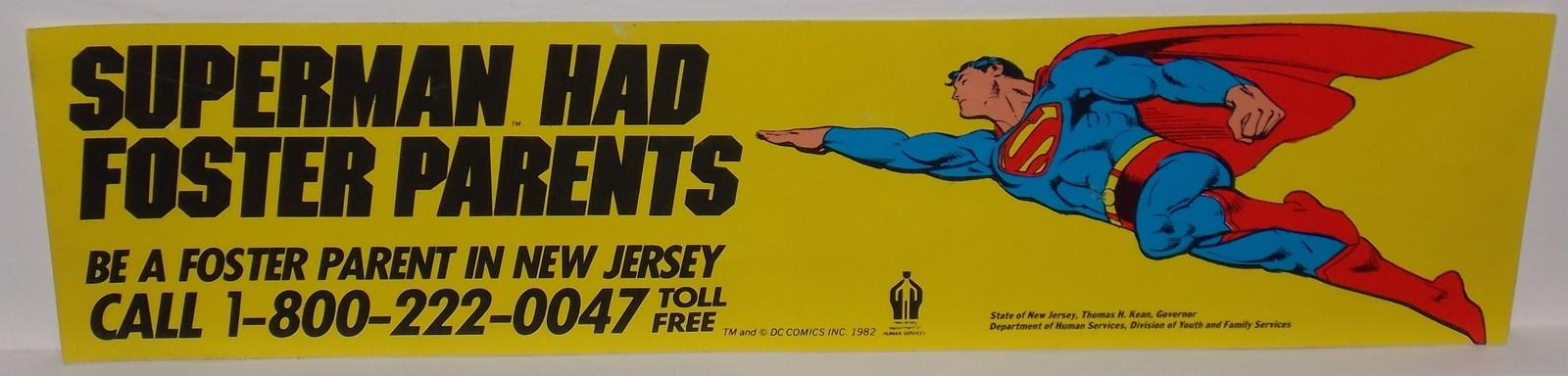 Very Rare Vintage 1982 DC Comics Superman Had Foster Parents Bumper Sticker - $49.99
