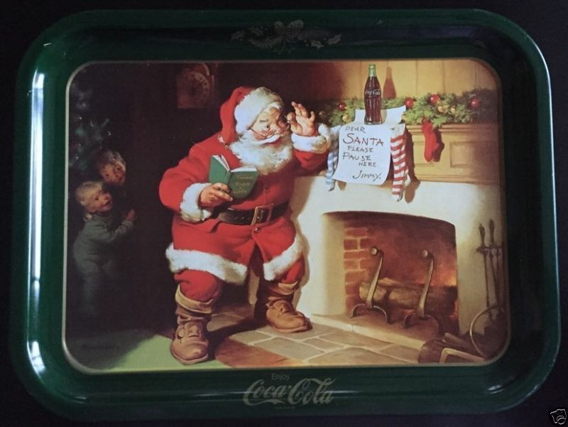 Primary image for 1970's Coca Cola Santa Please Pause Here Vintage Tray