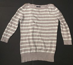 Gap Mint Green Gray Striped Sweater M Golden Decorative Shoulder Buttons Casual - $8.90