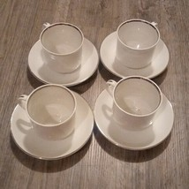 4 Salem International Ironstone SILVER ELEGANCE Cups and Saucers - $57.42