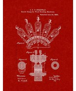 Screw Clamp For Wood Bending Machines Patent Print - Burgundy Red - $7.95 - $40.95