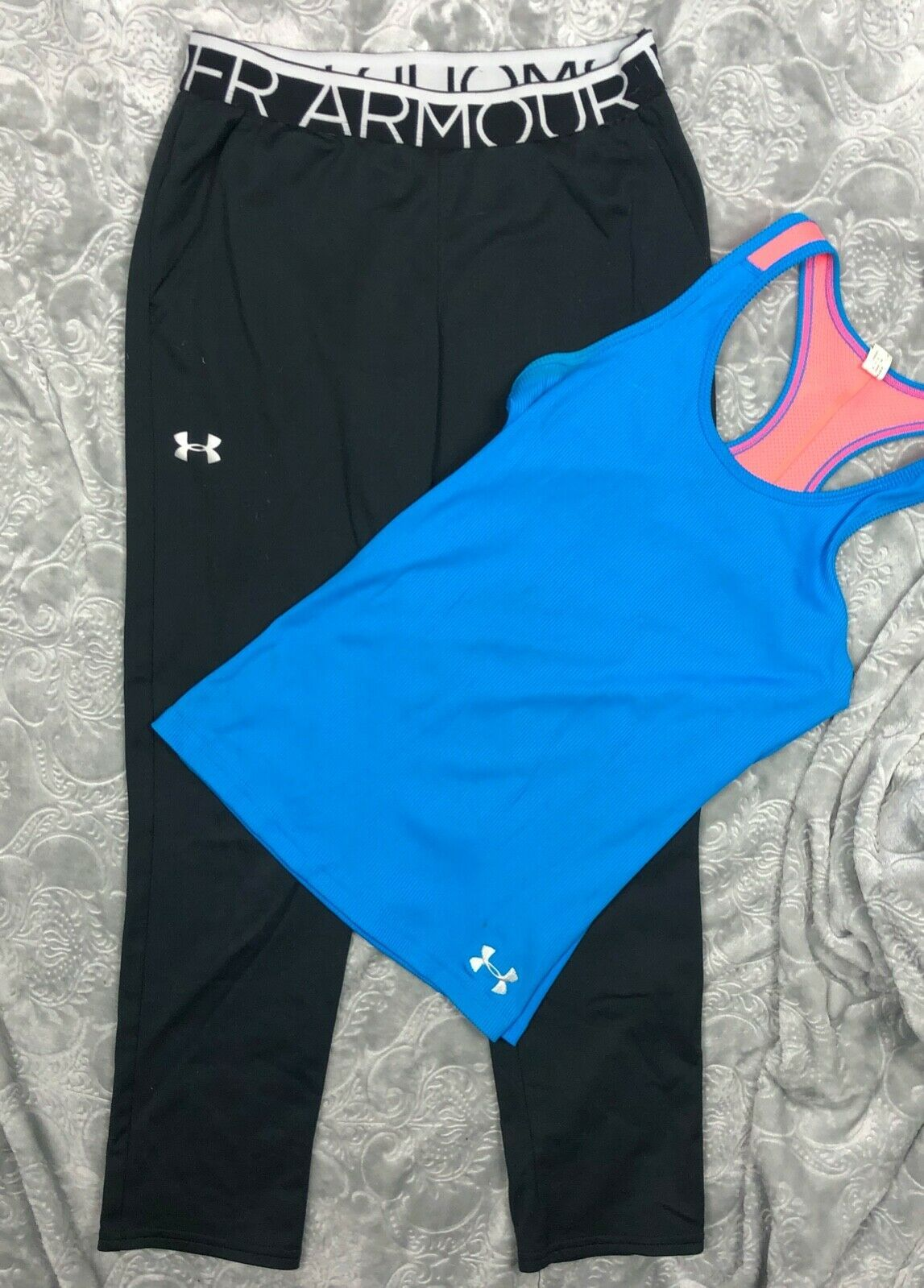 UNDER ARMOUR TANK TOP + BLACK PANTS OUTFIT LOT GIRL'S YMD