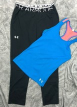 UNDER ARMOUR TANK TOP + BLACK PANTS OUTFIT LOT GIRL'S YMD - $32.67