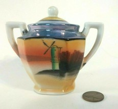 Lusterware Peach and Blue Child's Size Sugar Bowl Windmill Scene W/ Lid,... - $14.83