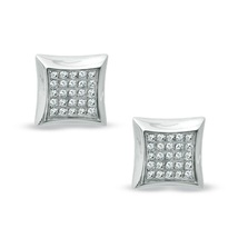 Fancy Stud Earrings For Women's In 18k White Gold Plated 925 Silver Round Cut CZ - $39.80