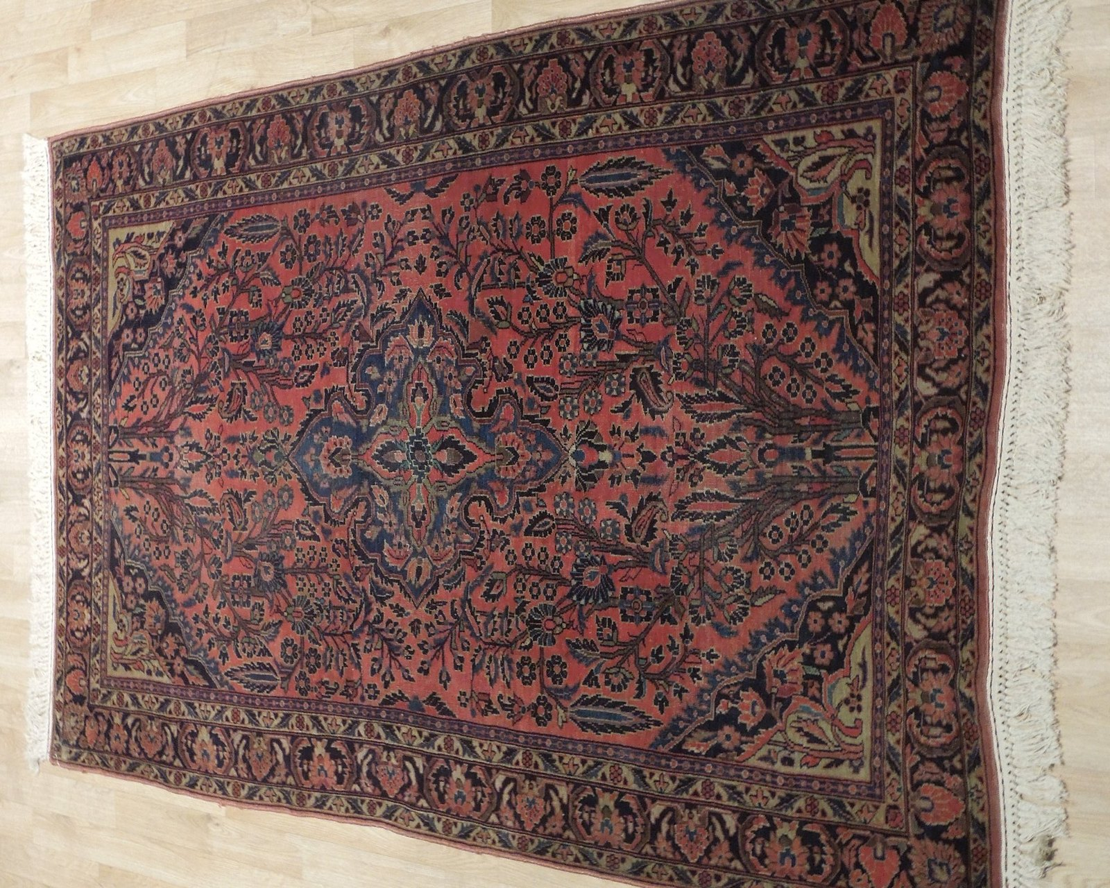 Sarouk Persian Wool Hand-Knotted Rug 5' x 7' Salmon Red Vintage Antique Red Rug image 3