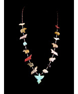 Vintage Talisman Fetish Necklace /Carved turquoise dove/  beach jewelry ... - $155.00