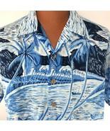 Vintage Kennington Hawaiian Aloha Large Boats Palm Trees Hibiscus Blue S... - $44.54
