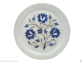 "8"" Marble Serving Plate Pietra Dura Lapis Lazuli Inlay Decorations Special Decor - $97.67"