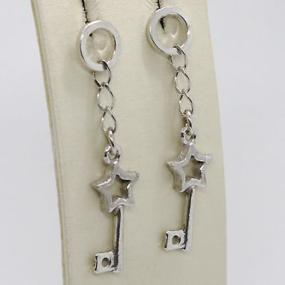 EARRINGS SILVER 925 TRIED AND TESTED HANGING WITH KEYS AND STARS SATIN