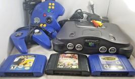 Nintendo 64 N64 Console Bundle Lot 3 Games Tested 2 Controllers 007 Tony... - $72.26