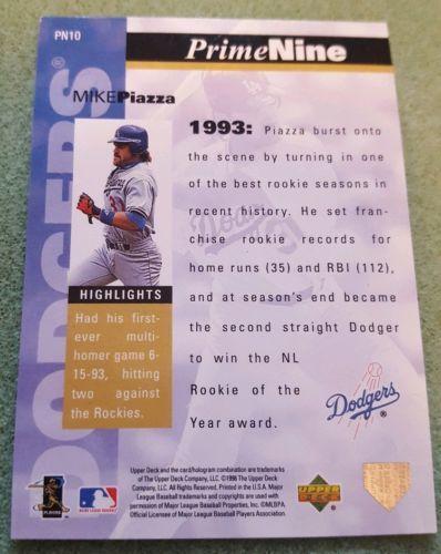 1998 UPPER DECK PRIME NINE MIKE PIAZZA #10 LOS ANGELES DODGERS