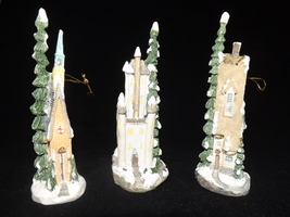 Whimsy Christmas Tree Ornaments House. Church and Castle - $15.00