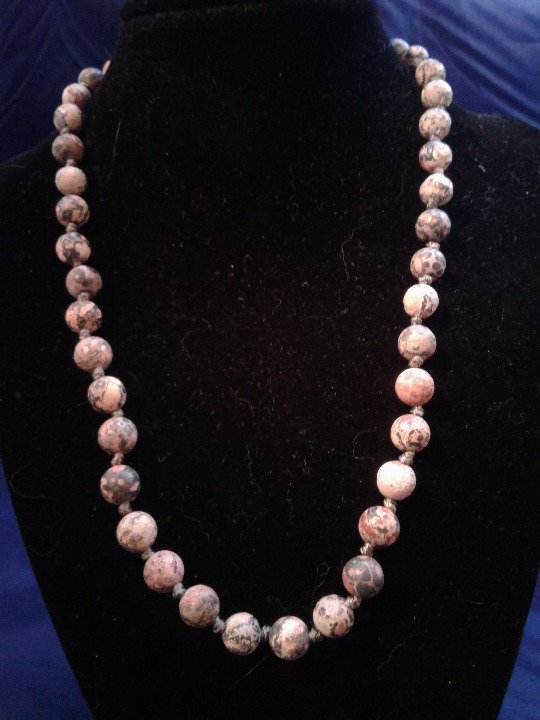"Primary image for 19"" Hand-Knotted Pink Zebra Jasper Necklace Z192"