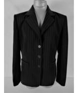 SICARI womens Sz 10 L/S black WHITE PINSTRIPE very SOFT button down jack... - $46.88