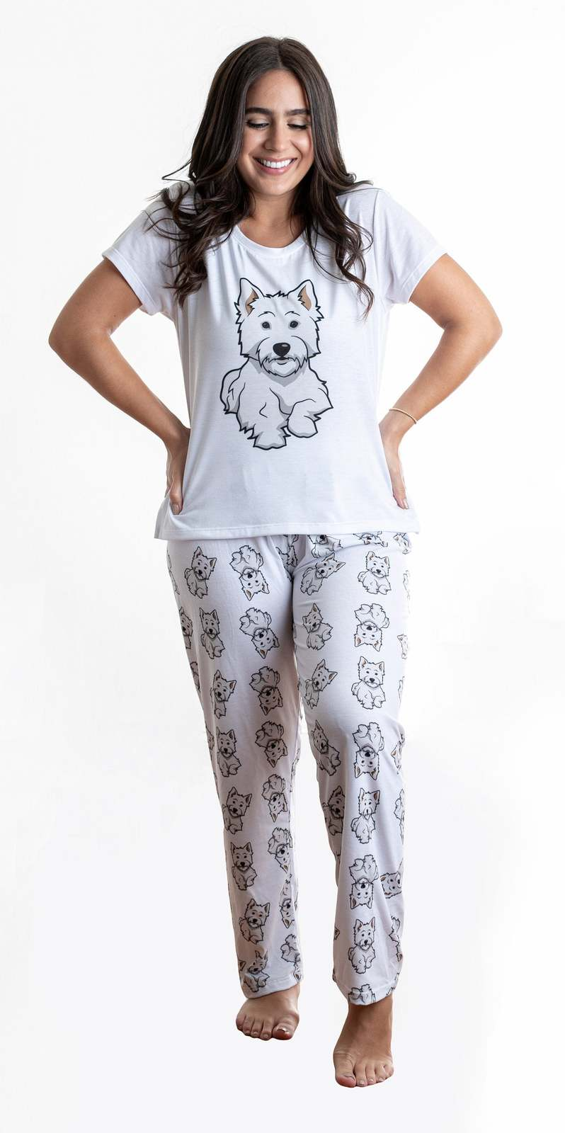 Primary image for Dog Westie pajama set with pants for women Westhighland