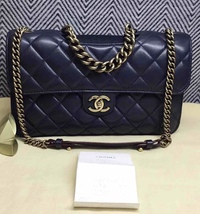 AUTHENTIC CHANEL RARE NAVY BLUE QUILTED LAMBSKIN LARGE PERFECT EDGE BAG GOLD HW  image 6