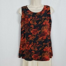 Vintage Revolution Silks Shell Tank Top Blouse Size Small Black Rust Floral - $9.89