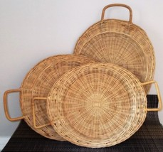 Lot 3 Vintage Wicker Rattan Woven Paper Plate Holders Picnic Camping Han... - €15,81 EUR