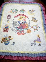 "Hand Quilted XStitched ""MOTHER GOOSE & FRIENDS"" Baby Quilt Crib Blanket ... - $159.99"
