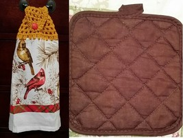 Cardinal Kitchen Towel Topper + Potholder Set - $10.00