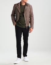 Men Stylish Slate Grey Suede Leather Jacket Coat For Men - $150.00
