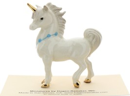 Hagen-Renaker Miniature Ceramic Unicorn Figurine Papa and Baby with Flowers Set image 7
