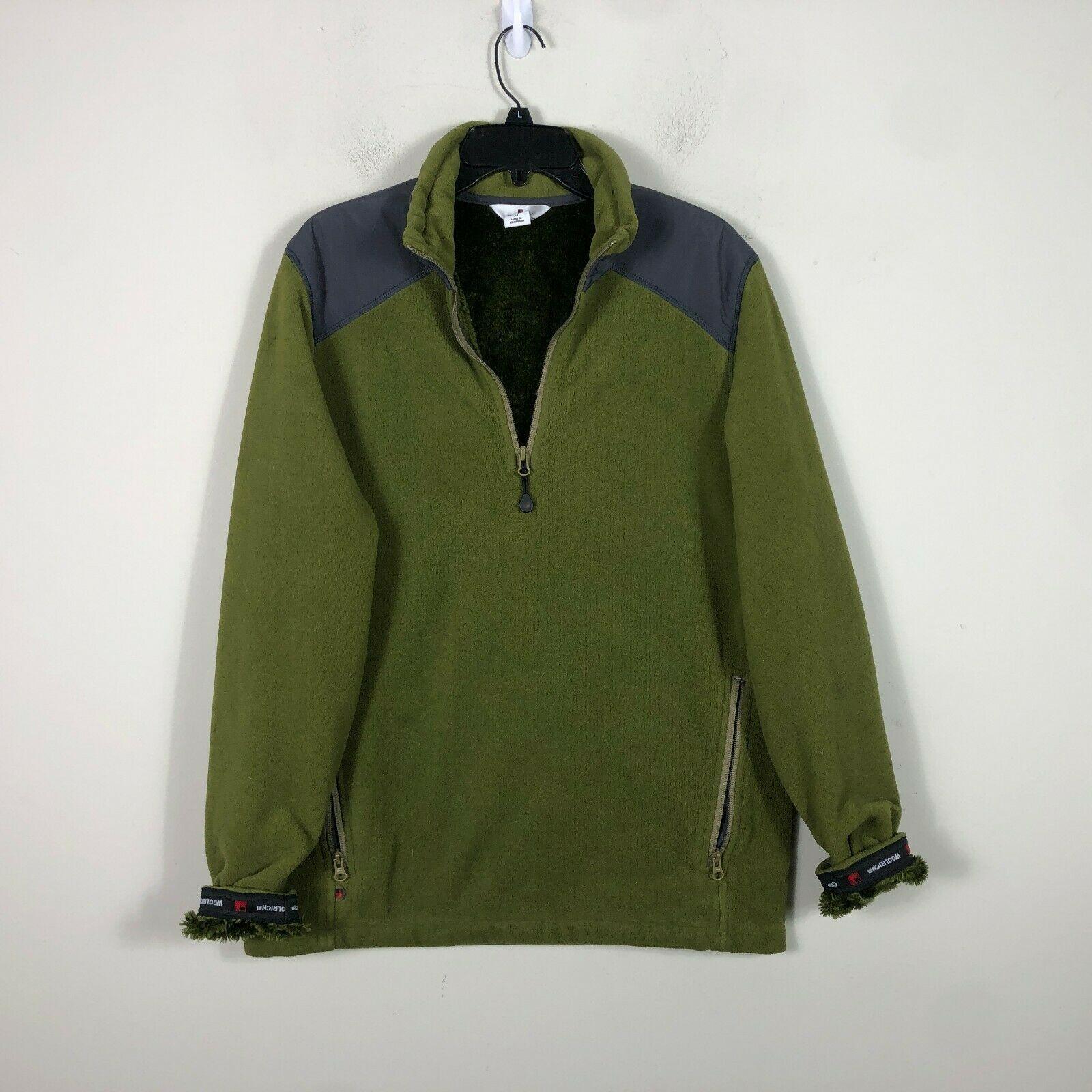 WoolRich Pile Fleece Jacket 1/2 Zip Men's M Green Long Sleeve Faux Fur Lined