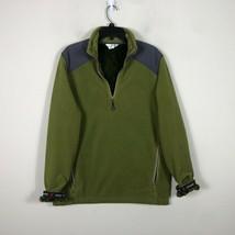 WoolRich Pile Fleece Jacket 1/2 Zip Men's M Green Long Sleeve Faux Fur Lined image 1