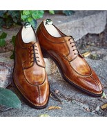Handmade men Two tone Patina leather Dress Shoes custom, leather shoe fo... - $158.30+