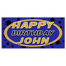 Football Birthday Banner Blue and Yellow Personalized Party Backdrop - $23.64