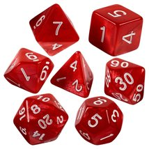 Red marbled 7 dice set with bag thumb200
