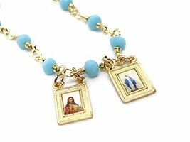 LESLIE BOULES Catholic Scapular Necklace for Women Blue Ligth Crystal Be... - $31.69