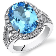 Sterling Silver Swiss Blue Topaz Oval Halo Ring with Split Band - $229.99
