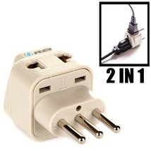 OREI Grounded Universal 2 in 1 Plug Adapter Type L for Italy, Uruguay & more ... image 7