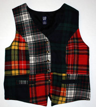 Gap Festive Wool Red Green Womens Tartan Plaid Patchwork Vest Small S - $29.99