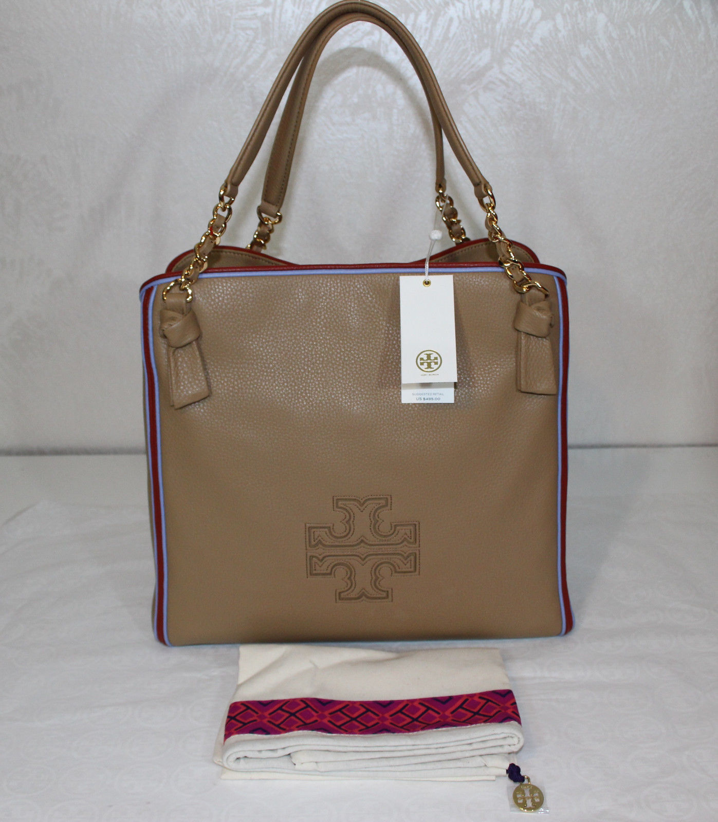 b44bf2aca89b 57. 57. Previous. Tory Burch Harper Stripe Tote Bag Center Zip Camel Tan  Pebbled Leather  500