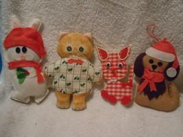 Vintage Homemade Cloth Felt Animal Ornaments Group or 4 - $9.99