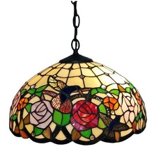 Tiffany Style HAND-CRAFTED Floral Hanging Lamp Wide 16 In - $139.00