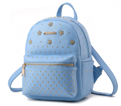 New Fashion Leather Backpacks Students School Backpacks Rivets Bookbags ... - $37.99