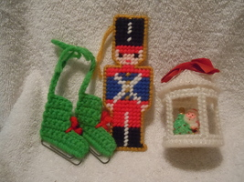 Vintage Homemade Canvas Ornaments Set of 3 - $3.99