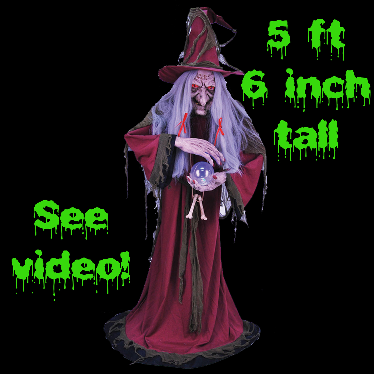 Life Size Animated Light Sound FORTUNE TELLER WITCH Haunted House Halloween Prop