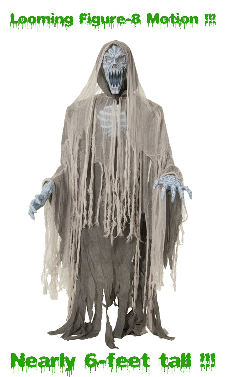 Life Size Animated EVIL ENTITY GHOST REAPER ZOMBIE Light up Sound Halloween Prop