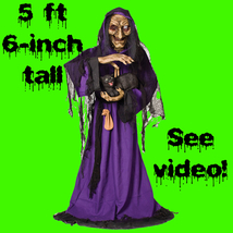 Life Size Animated Light Sound WITCH with BLACK CAT Haunted House Hallow... - $149.97