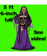 Life Size Animated Light Sound WITCH with BLACK... - $149.97