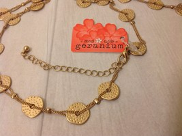 """Geranium Gold Toned Long Necklace 40"""" Medallions NWT Adjustable Lobster Clasp image 4"""