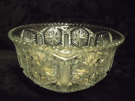 "ANTIQUE EAPG 7"" RUFFLE EDGE BOWL, LOTS OF GLASS BUBBLES - $34.65"