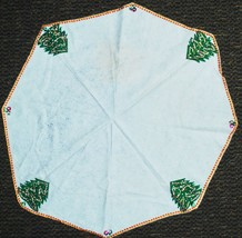 "Vintage White Felt Christmas 39"" Tablecloth - Sequin Rik Rak - MID CENTURY - $19.70"