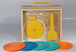 Vintage 1971 Fisher Price Music Box Record Player 5 Records Complete- Wo... - $48.37